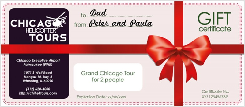 Chicago Helicopter Tours Gift Certificates